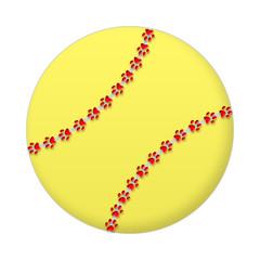 Yellow Baseball/Softball with Paw Stitching