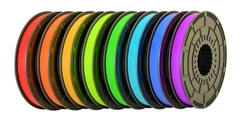 3D printer filaments, 3D illustration