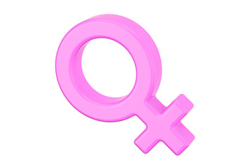 Female gender symbol, 3D rendering