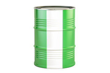 Oil barrel with flag of Nigeria. Oil production and trade concept, 3D rendering
