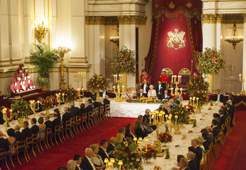 State banquet hosted by Queen Elizabeth in honour of President of Singapore Tony Tan Keng Yam is pictured at Buckingham Palace