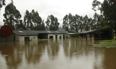 A flooded farm is seen in the municipality of Cajica near Bogota