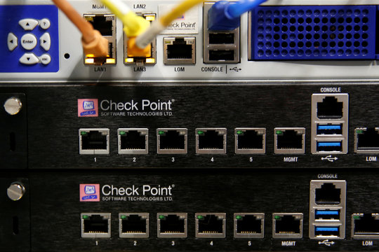The logo of network security provider Check Point Software Technologies Ltd is seen on servers at their headquarters in Tel Aviv, Israel