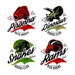 Vintage American furious piranha, dinosaur, snake, ram bikers gang club tee print vector design set. Premium quality wild animal superior logo concept illustration.