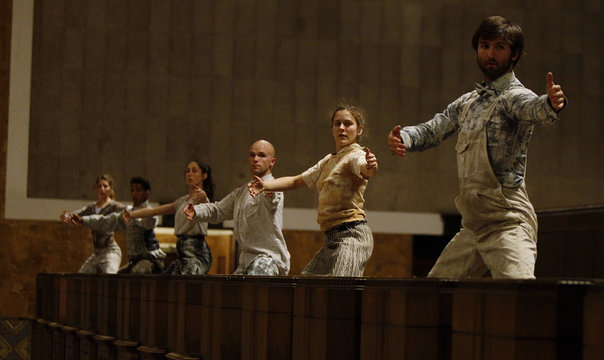 """Performers from L.A. Dance Project dance during dress rehearsal for the experimental opera """"Invisible Cities"""", which is presented inside the historic Los Angeles Union Station in California"""