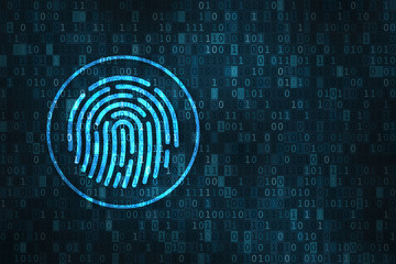 Digital fingerprint security concept, binary digits background