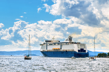 Cruise liner anchored in Oslo port, Norway.