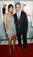 "Director Mulroney poses with cast member Szohr at the premiere of ""Love, Wedding, Marriage"" at the Pacific Design Center in Los Angeles"