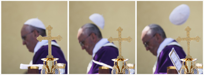 A combo picture shows a gust of wind blowing Pope Francis' skull cap as he celebrates a mass during his visit at Lampedusa Island
