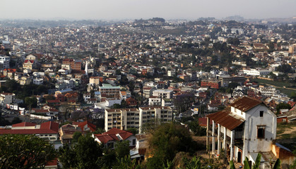 General view shows residential neighborhood in Antananarivo