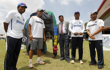ICC Cricket World Cup 2011 Tournament Director Shetty poses with an elephant during the launch of the mascot name in Colombo