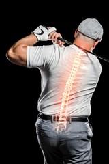 Digitally composite image of male golfer
