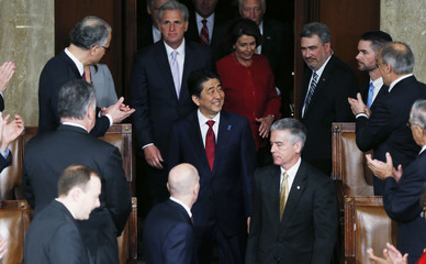 Japanese Prime Minister Abe arrives to address a joint meeting of Congress on Capitol Hill in Washington