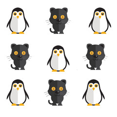 a penguin and black cat icon set illustration on a plain background