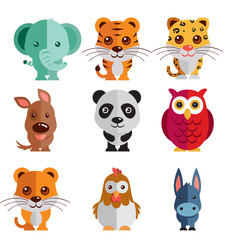 a mega icon set of elephant, tiger, hen, cock, donkey, dog, panda illustration on a plain background