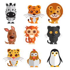 a mega icon set of zebra, tiger, lion, donkey, monkey, hen, penguin, tiger, cock black cat illustration on a plain background