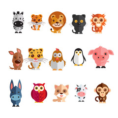 a mega icon set of zebra, tiger, lion, donkey, monkey, hen, penguin, tiger, cock black cat, pig, cow, dog  illustration on a plain background