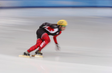 Canada's Maltais skates to set an Olympic record as she participates  in the women's 1,000 metres short track speed skating heat event at the Iceberg Skating Palace during the 2014 Sochi Winter Olympics