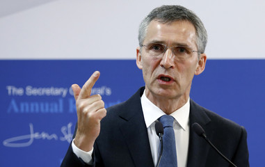 NATO Secretary General Stoltenberg addresses a news conference at the Alliance headquarters in Brussels