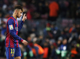 Barcelona's Neymar celebrates his goal against Villarreal during their Spanish first division soccer match at Nou Camp stadium in Barcelona