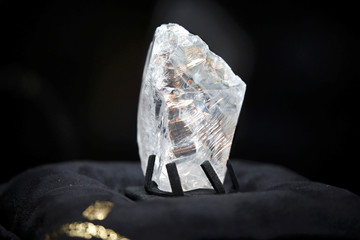 Jewellery company de Grisogono displays the Constellation rough diamond during a news conference in Paris