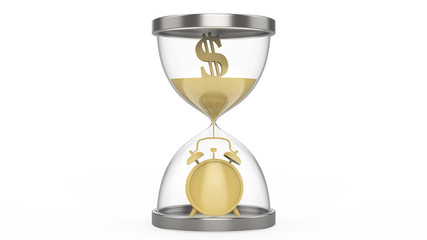 3D illustration hourglass time is money dollar