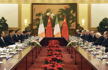 Chinese President Xi speaks during a meeting with his Irish counterpart Higgins in Beijing's Great Hall of the People