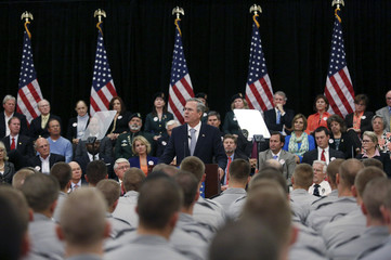 Republican U.S. presidential candidate Bush speaks about his plans for the U.S. military at The Citadel in Charleston