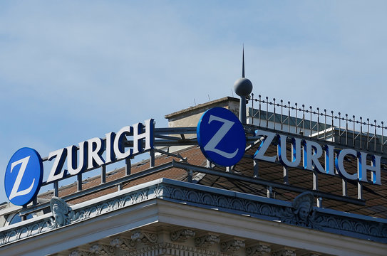 The logo of Zurich insurance company is seen on the roof of an office building in Vienna