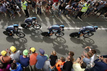 Team Sky riders cycle during the team time-trial 9th stage of the Tour de France