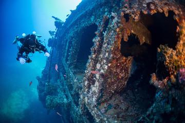 "Diving on the wreck "" Vissilios T "" Island VIS Croatia"