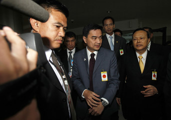 Thailand's Prime Minister Abhisit Vejjajiva is seen at the Constitutional Court room in Bangkok