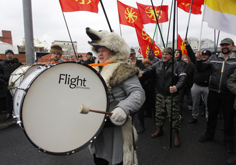 "Russian nationalists attend a ""Russian March"" demonstration on National Unity Day in Moscow"