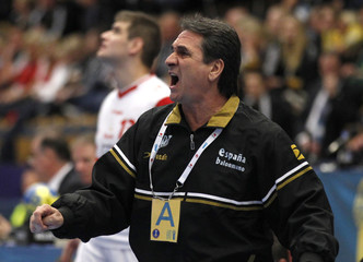 Spain coach Rivera Lopez reacts during his team's main round match against Iceland at Men's Handball World Championship in Jonkoping