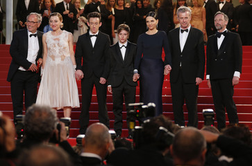 "Director Bruno Dumont and cast members pose on the red carpet after the screening for the film ""Ma loute"" (Slack Bay) in competition at the 69th Cannes Film Festival in Cannes"