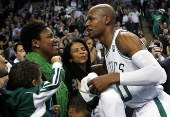 Boston Celtics guard Allen is congratulated after he set a new NBA record for career in NBA basketball game against Los Angeles Lakers in Boston