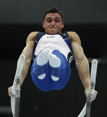 Wynn of the U.S. performs on the parallel bars during the men's qualifying round of the Artistic Gymnastics World Championships in Rotterdam