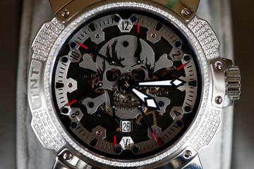 A Swiss watch brand Pierre DeRoche TNT watch is displayed in Le Lieu