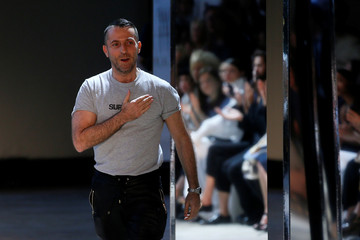 French designer Alexandre Vauthier appears at the end of his Haute Couture Fall/Winter 2016/2017 collection in Paris