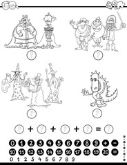 maths educational game coloring page
