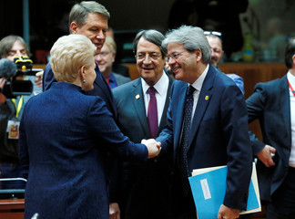 Lithuania's President Dalia Grybauskaite, Romania's President Klaus Werner Iohannis, Cyprus President Nicos Anastasiades  and Italys Prime Minister Paolo Gentiloni  attend a EU Summit in Brussels