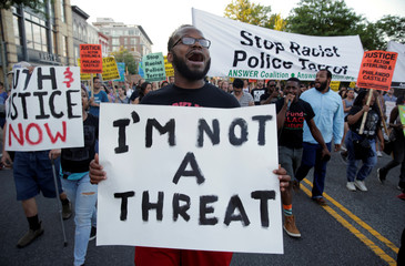 Demonstrators with Black Lives Matter march during a protest in Washington