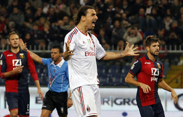Ac Milan's Ibrahimovic celebrates after scoring against Genoa during their Italian Serie A soccer match in Genoa