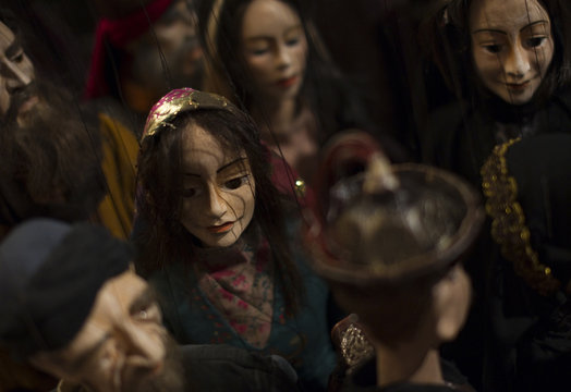 Puppets are seen before a rehearsal for a performance based on Iranian poet Hafez' life story at Ferdowsi hall in central Tehran