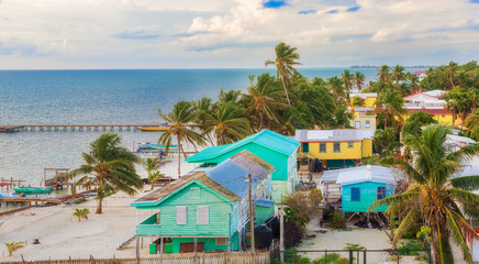 Aerial view at wooden pier dock and ocean view at Caye Caulker Belize Caribbean.