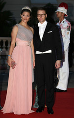 Crown Princess Victoria and Prince Daniel of Sweden arrive at the Opera Garnier to attend the official dinner and ball for the wedding of Monaco's Prince Albert II and Princess Charlene in Monaco
