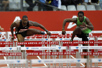 Oliver of the US and Robles of Cuba compete in the men's 110m hurdles event during the IAAF Diamond League athletics meeting in Saint-Denis