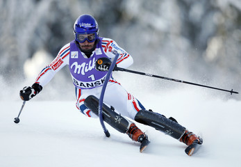 Grange of France clears a gate during first run of men's slalom race at Alpine Skiing World Cup in Bansko