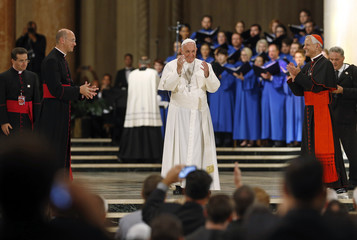 Pope Francis greets gatherers inside the Basilica of the National Shrine of the Immaculate Conception in Washington