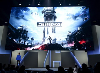 """Sigurlina Ingvarsdottir, senior producer at EA Digital Illusions Creative Entertainment, introduces the new video game """"Star Wars Battlefront"""" during Electronic Arts media briefing in Los Angeles"""